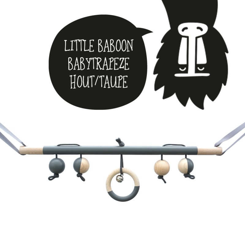 Babytrapeze 'little baboon' (taupe / hout)