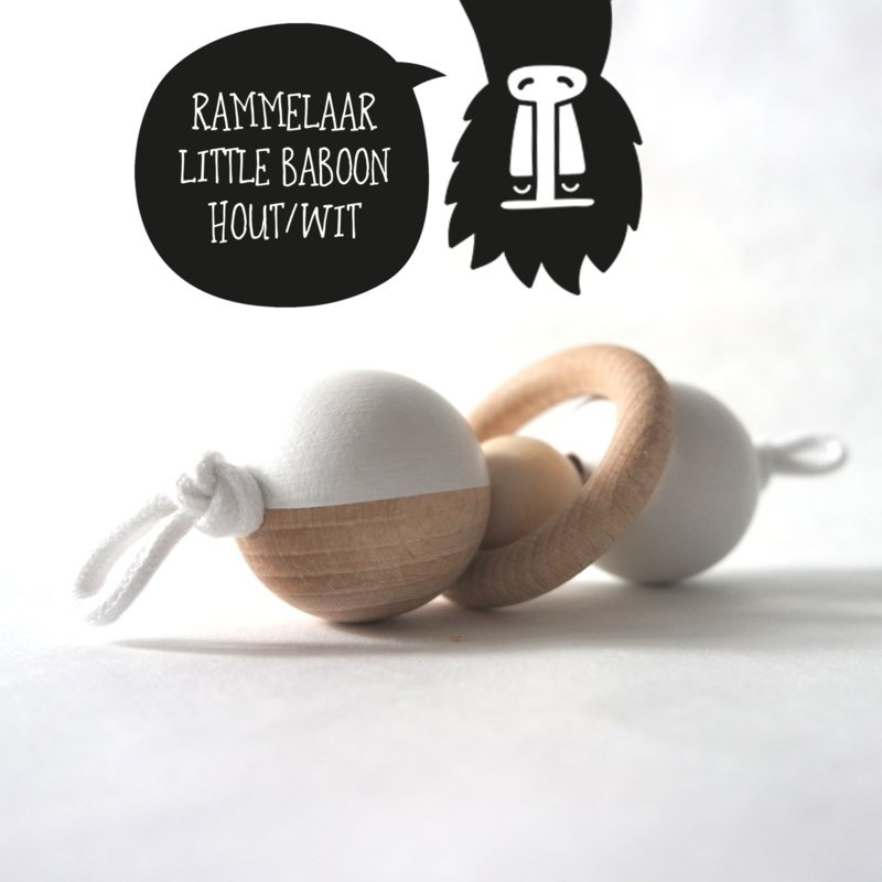 Rammelaar 'little baboon' hout/wit
