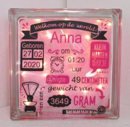 Glazen geboorteblok meisje Welkom op de wereld met verlichting