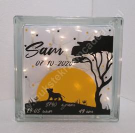 Glazen geboorteblok Leeuw met verlichting