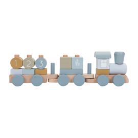 Little Dutch houten trein blauw ocean met geboortegegevens