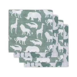 Jollein Hydrofiel luiers Safari forest green 4 pack