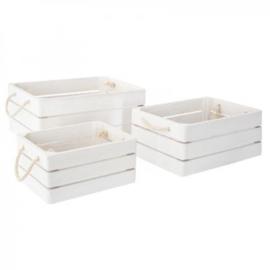 Houten krat / kist droom wit met handvatten met of zonder naam