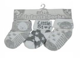 Sokjes Little star/ beer grijs / wit set van 3