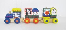 Nijntje houten trein met geboortegegevens