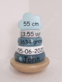 Label Label houten tuimelringpiramide blauw geboortegegevens