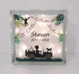 Glazen geboorteblok Jeep Jongen met verlichting