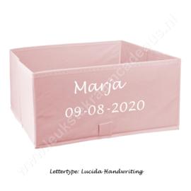 Opbergbox Canvas Roze 2-pack met of zonder naam