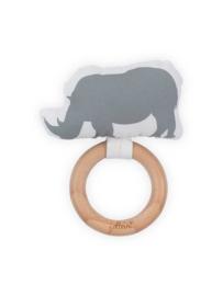 Bijtring Safari neushoorn grijs
