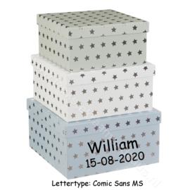 Kartonnen Box met deksel - zilveren sterren met of zonder naam