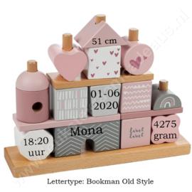 Label Label houten stapelgeveltje roze met geboortegegevens