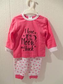 Pyjama I love you to the moon and back fuchsia / wit