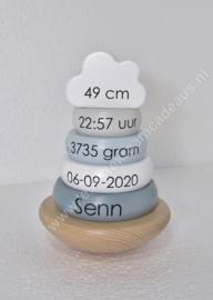 Label Label houten tuimelringpiramide blauw met of zonder geboortegegevens