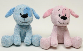 Pluche Hond blauw  of roze