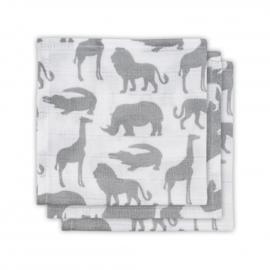 Jollein hydrofiel monddoekje Safari stone grey 3 pack