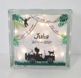 Glazen geboorteblok Jeep Meisje met verlichting