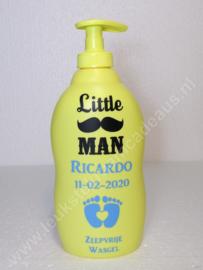Zwitsal Zeepvrij wasgel met naam en geboortedatum Little Man