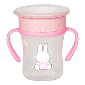 Nijntje anti-lek beker roze met handvaten 250 ml.