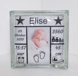 Glazen geboorteblok met foto van de kleine met of zonder verlichting
