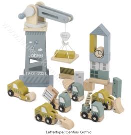 Label Label houten Bouwplaats met of zonder naam & geboortedatum
