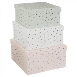 Kartonnen Box met deksel - dots goud met of zonder naam