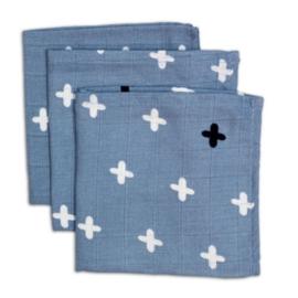 Briljant Hydrofiel monddoekje Crizzzcrozzz silver-blue 3 pack
