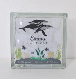 Glazen geboorteblok Walvis met verlichting