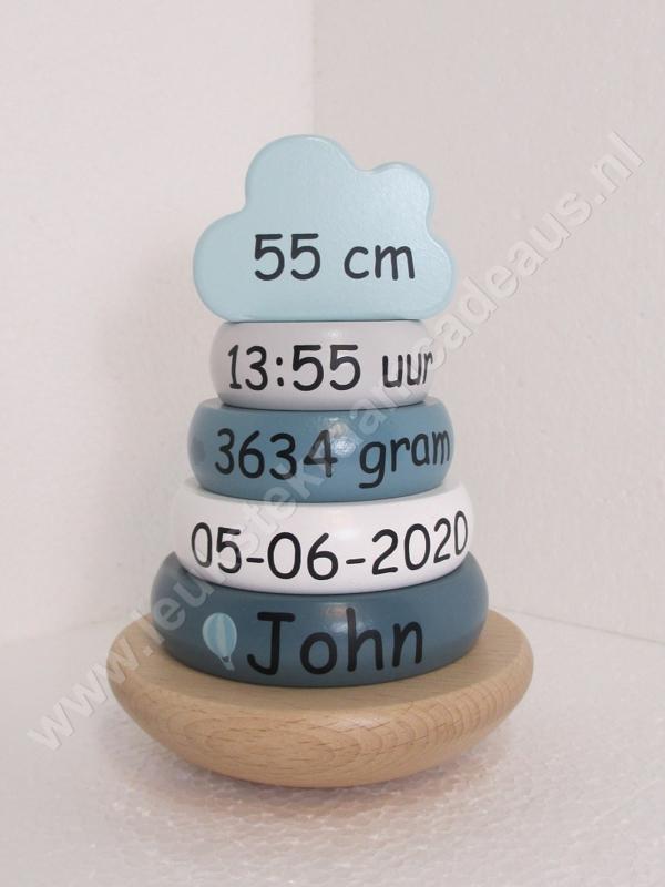 Label Label houten tuimelringpiramide donker blauw met of zonder geboortegegevens