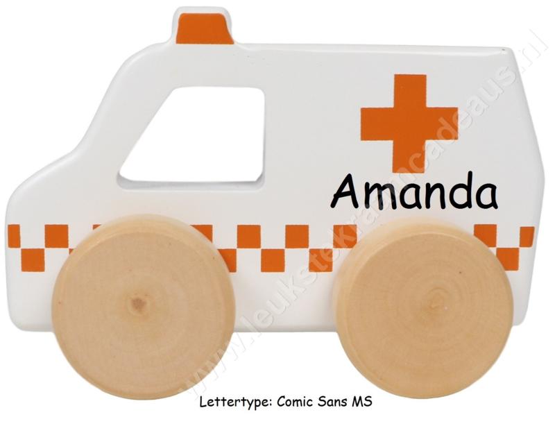 Tryco houten ambulance met of zonder naam & geboortedatum