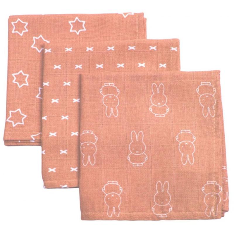 Briljant Hydrofiel monddoekje Nijntje smile coral pink 3 pack
