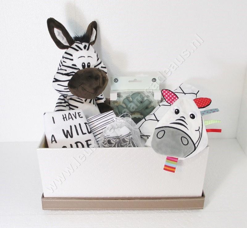Opbergbox  van kunstleer met deksel en Zebra met geluid