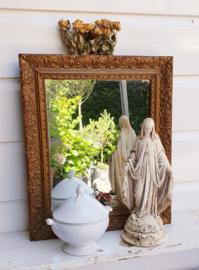 Mooie oude spiegel, rechthoekig , goudkleurig