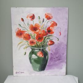 Schilderij oranje bloemen