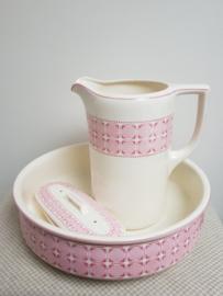 Wit/ rose lampetstel van