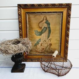Zeer oude lijst met prachtige sleetse Maria en engelen