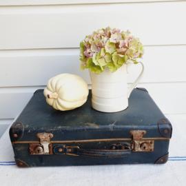 Stoer, oud, blauw koffertje