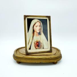 Verzilverd fotolijstje met kaart van Maria