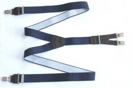 Hendrik Gold bretel blauw met witte stipjes ( 4 clips )