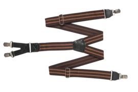 Hendrik bretel bruin met oranje streepjes ( 4 clips )