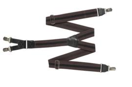 Hendrik bretel bruin met een zwarte streepje ( 4 clips )