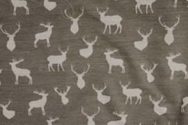 Tafelkleed Hert donker grijs / licht grijs ( 140 cm breed )
