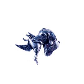 Tinnen speld/pin Labrador met eend