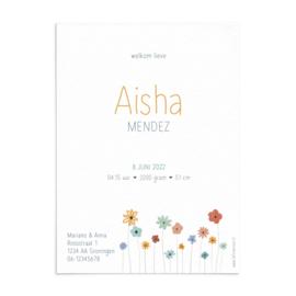 Geboortekaart Aisha - zomer!