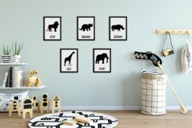 Set van 5 dierenposters