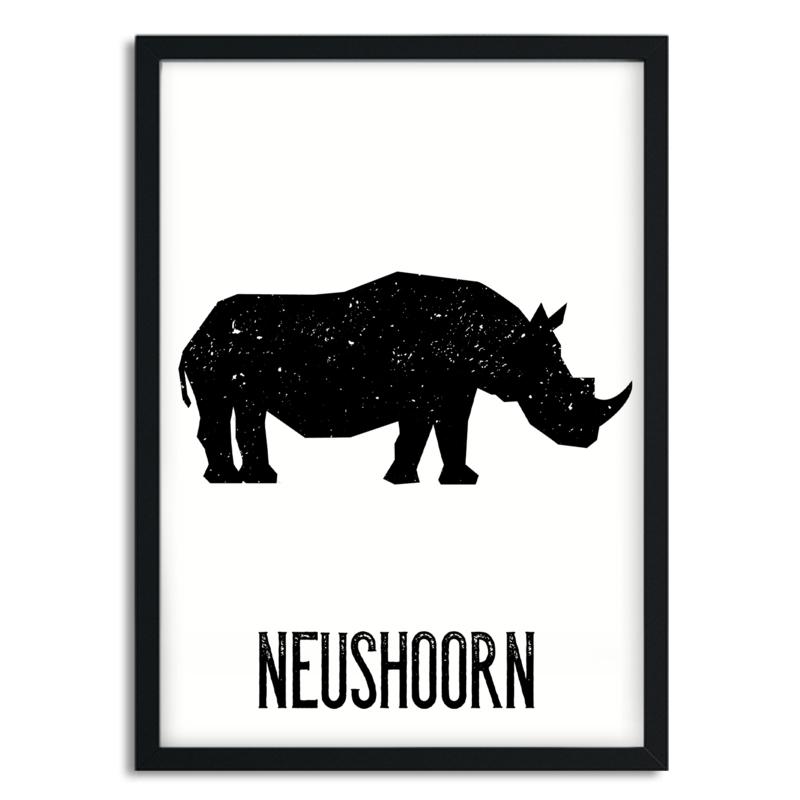Poster Neushoorn A4