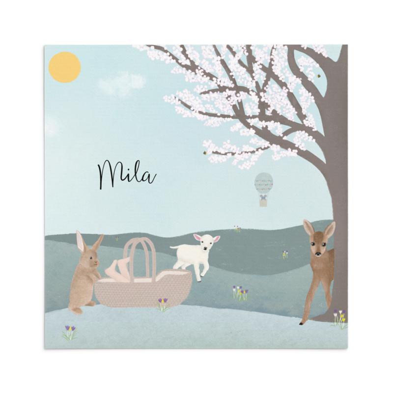 Geboortekaart Mila - lente
