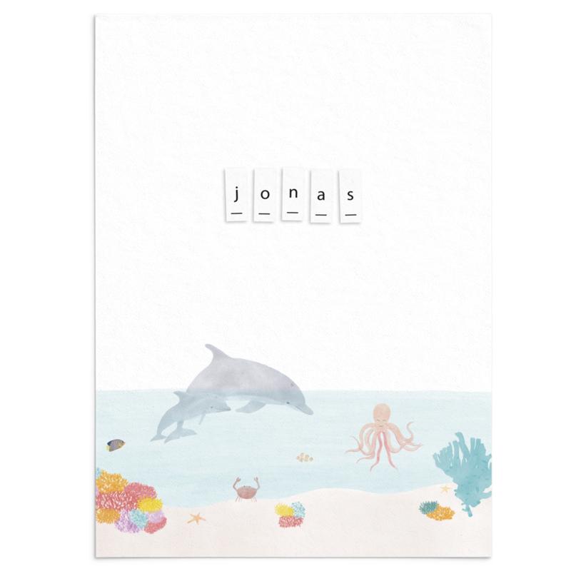Geboortekaart Jonas - onderwaterwereld