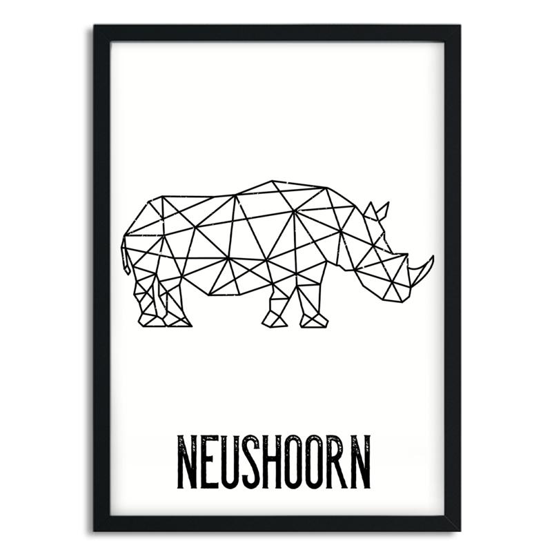 Poster Neushoorn A5/A4