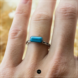 iXXXi Jewelry Losse Ring Festival Turquoise Zilverkleurig 2mm