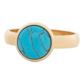 iXXXi Jewelry 12mm Blue Turquoise Stone Goudkleurig 4mm